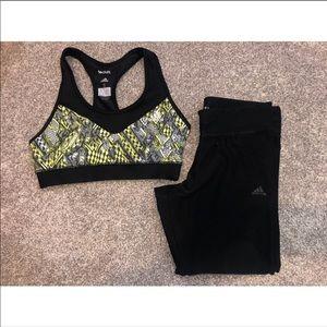 Adidas spirts bra and leggings athletic bundle
